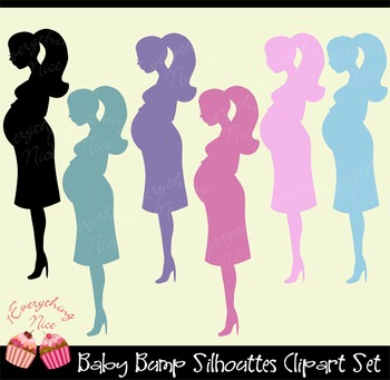 Baby Bump Silhouettes Clipart Set.