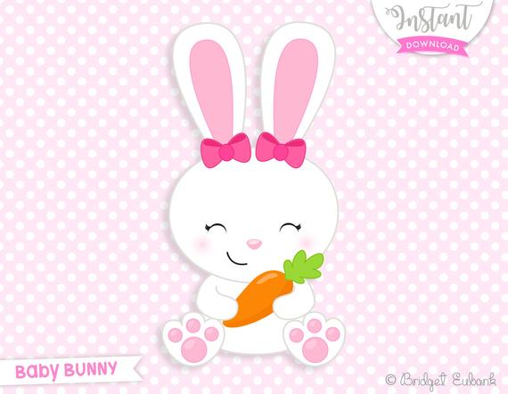 Bunny clipart, Easter clipart, girl bunny clipart, baby bunny, Commercial  Use, INSTANT DOWNLOAD.