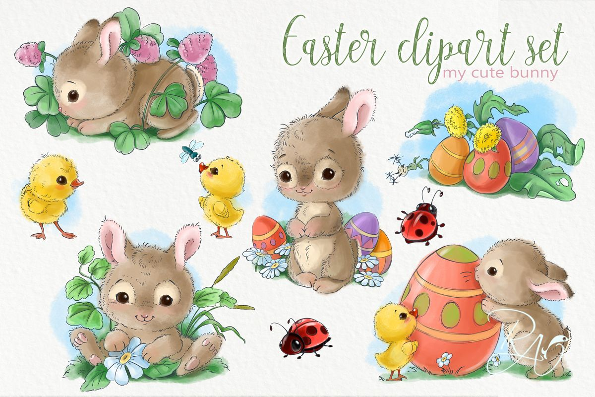 Cute Easter baby bunnies, eggs, bugs and chicks clipart pack.