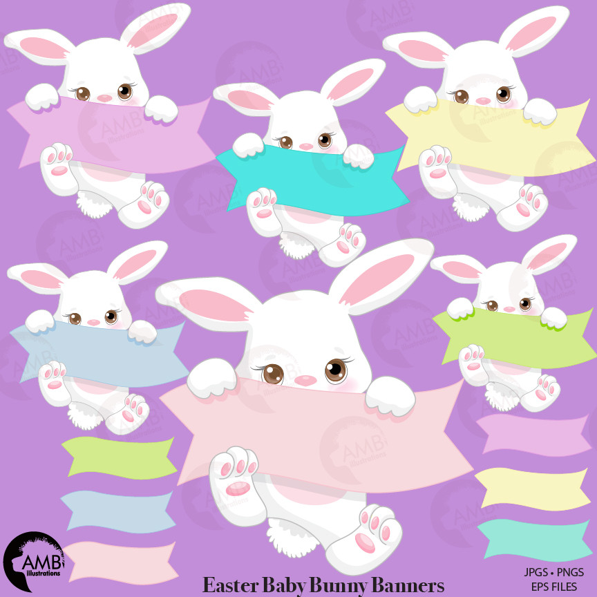 Easter Clipart, Bunny Clipart, Easter bunny banner Clipart, Easter Bunny  Clipart, AMB.