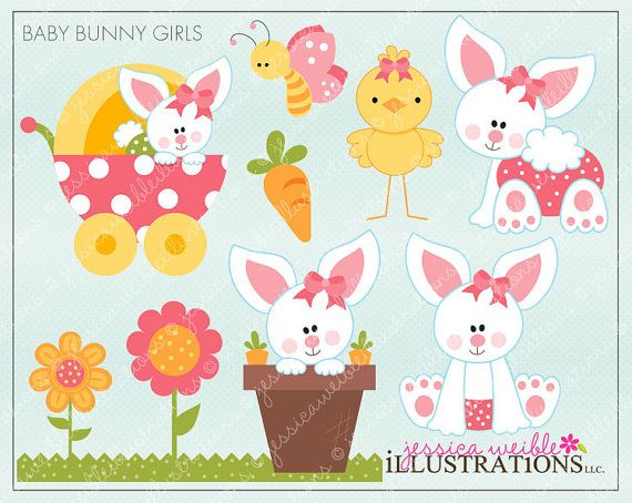 Baby Bunny Girls Cute Digital Clipart for by JWIllustrations.