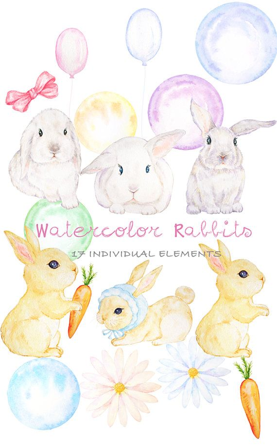 Watercolor Rabbit Clipart, Hand Drawn Easter Bunny.
