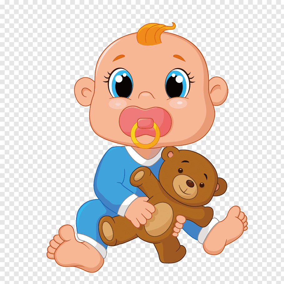 Baby in blue onesie with teddy bear illustration, Infant.