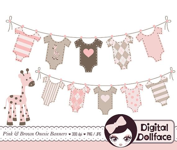 Baby Bunting Banner Clip Art, Baby Girl Shower Clipart.