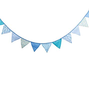 Multi Colored Fabric Bunting For Party Birthday Wedding Anniversary  Celebration Baby Shower(Blue).