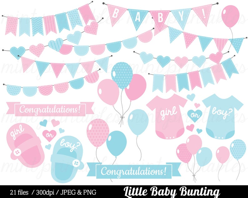 Baby Shower Clipart, Girl Boy Gender Reveal, Blue Pink Bunting baby  Clipart, Baby Clip Art.