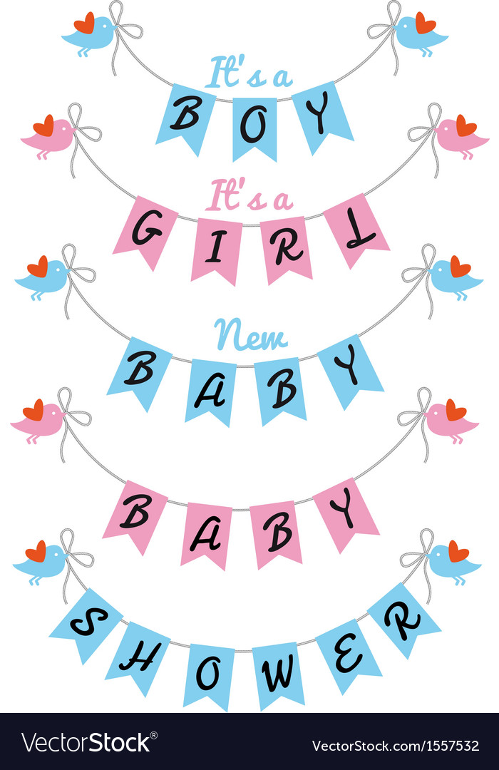 New baby cute birds with bunting flags.