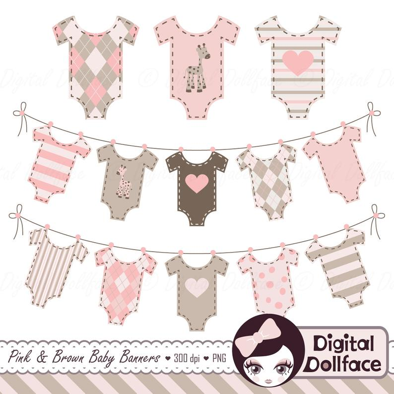 Baby Bunting Banner Clip Art, Baby Girl Shower Clipart, Digital Graphics.