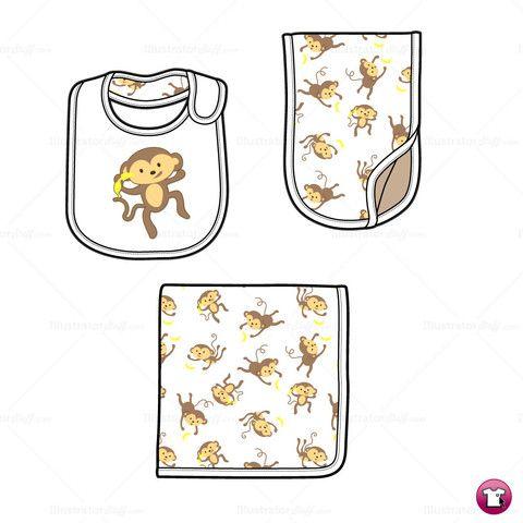 Infant Burp Cloth, Bib and Blanket Fashion Flat Template.