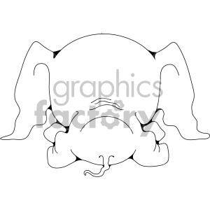 baby elephant butt clipart. Royalty.