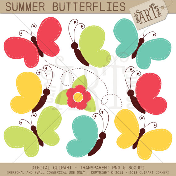 Digital Clipart Summer Butterflies.