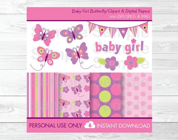 Cute Pink Butterfly Clipart / Butterfly Digital Paper /.