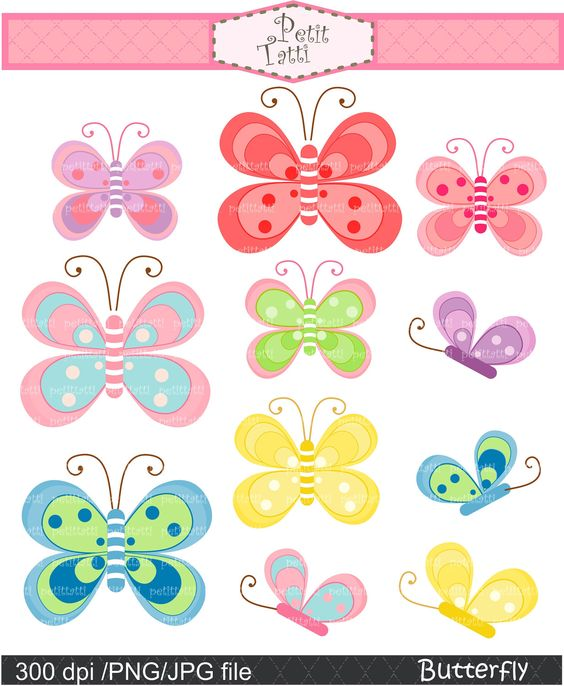 Baby Butterfly Digital Clipart.