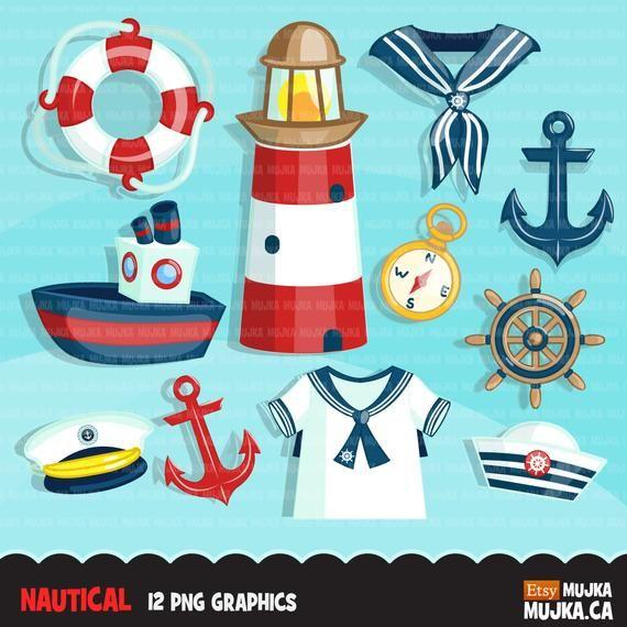 Nautical clipart. Sailor cap, sailboat, captain, compass.