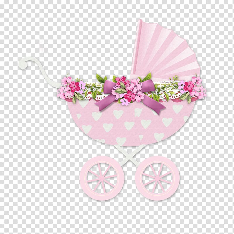 Baby\'s pink floral bassinet stroller illustration, Infant.