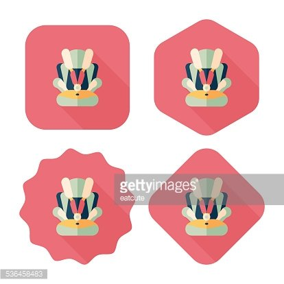 Baby car seat flat icon with long shadow,eps10 Clipart Image.