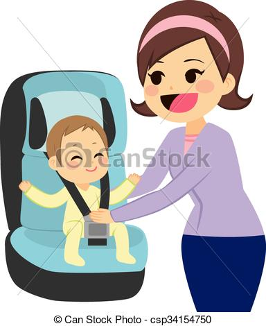 Baby On Car Seat.