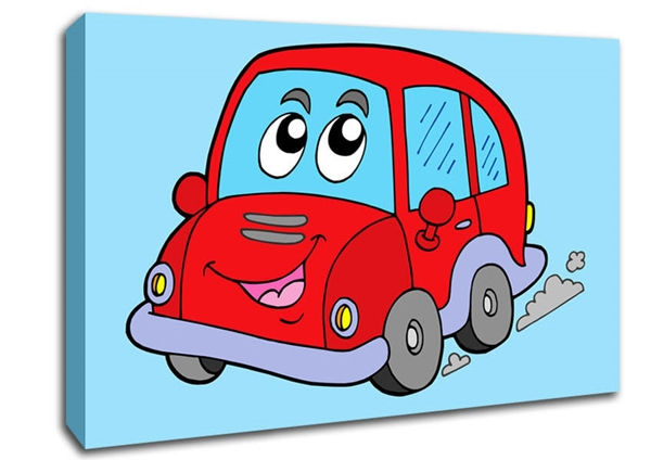 childrens car with face smokey baby blue canvas art.