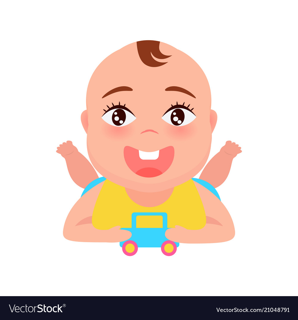 Baby playing with car poster.
