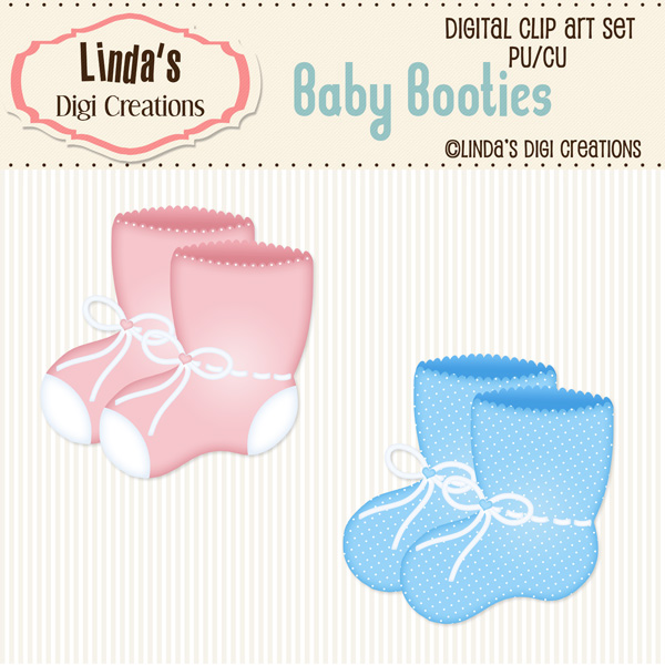 Baby Booties (Clip Art Set) sold by Linda\'s Digi Creations.