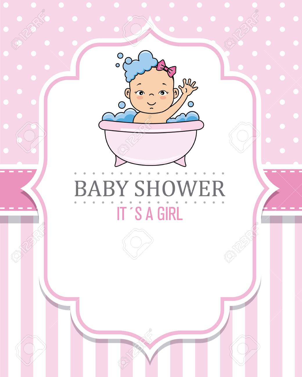 baby shower card girl. Baby girl bathing.