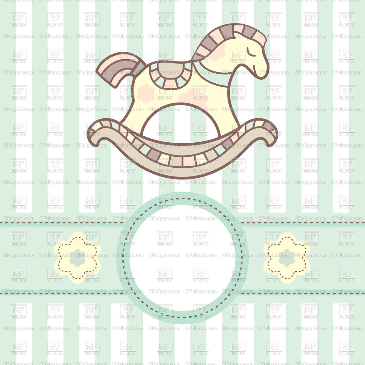 Blue baby card with lovely rocking horse Stock Vector Image.