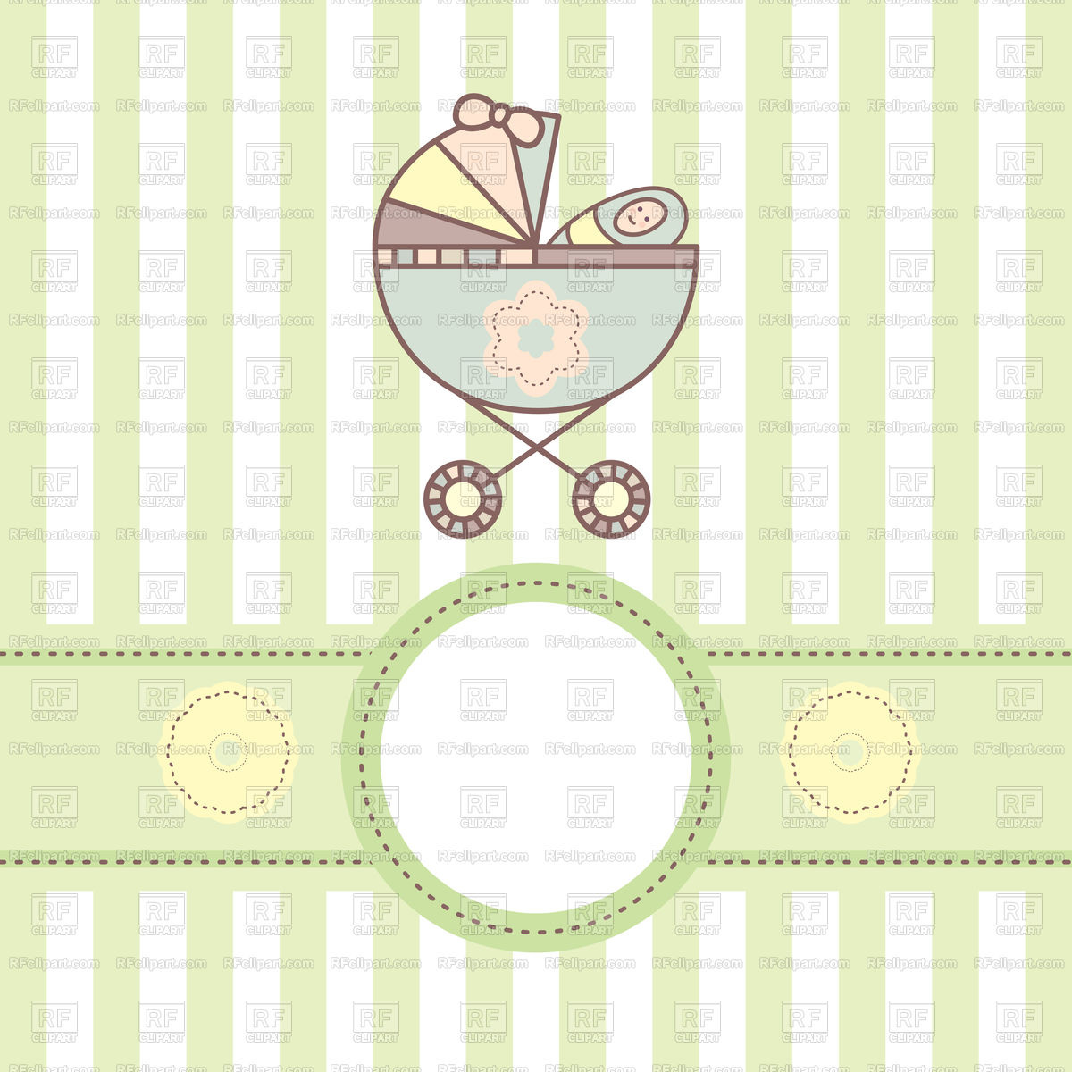 Greeting baby card with cradle Stock Vector Image.
