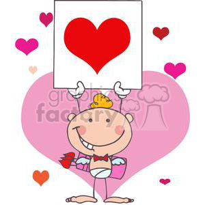Blond Haired Baby Boy Cupid holding Up A Heart Card clipart. Royalty.