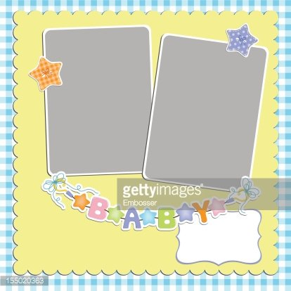 Cute template for baby\'s card Clipart Image.