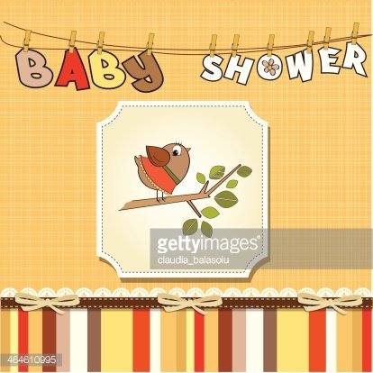 welcome baby card with funny little bird Clipart Image.