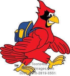 Clipart Cartoon Cardinal Wearing a Backpack.