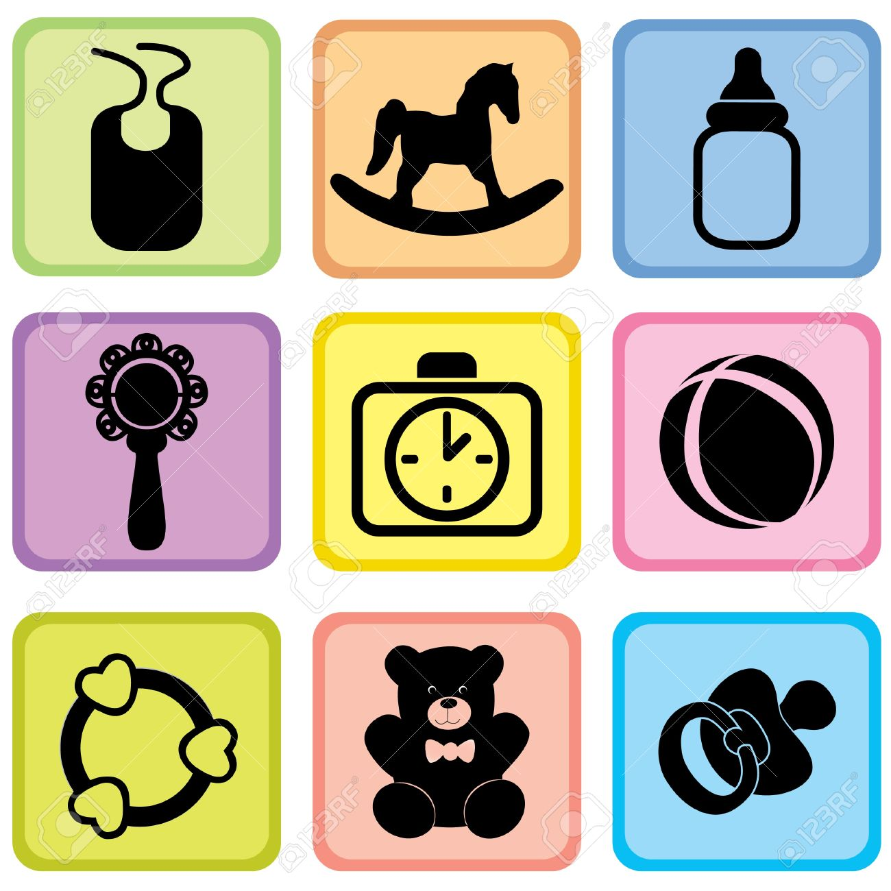 Baby Icons Vector Set Baby Care Symblos Royalty Free Cliparts.