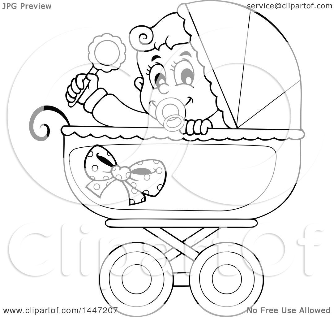 Baby Stroller Clipart Black And White.