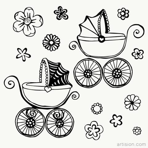 Baby Carriage Clipart Graphic.