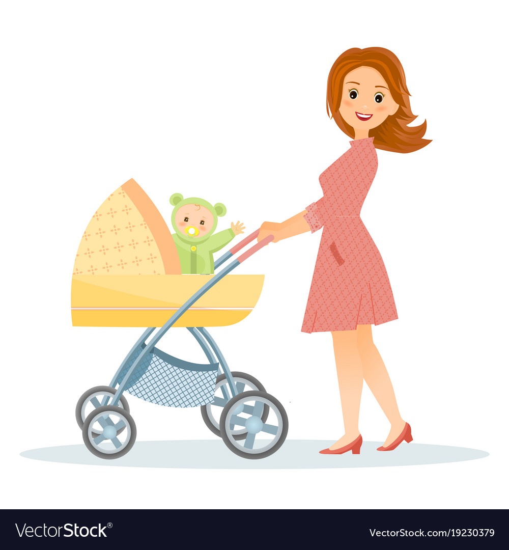 Mother with baby in stroller.
