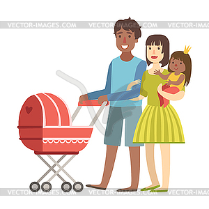 Parents Walking WIth Baby In Stroller And And.