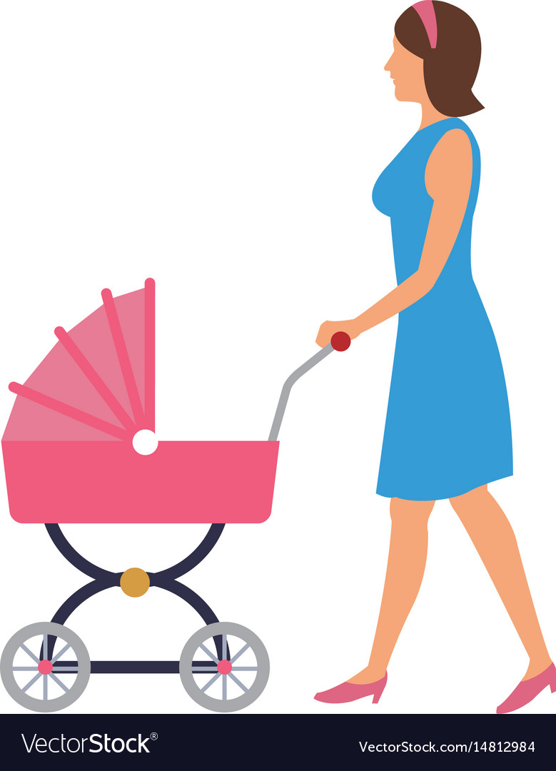 Mother pushing pink baby carriage.