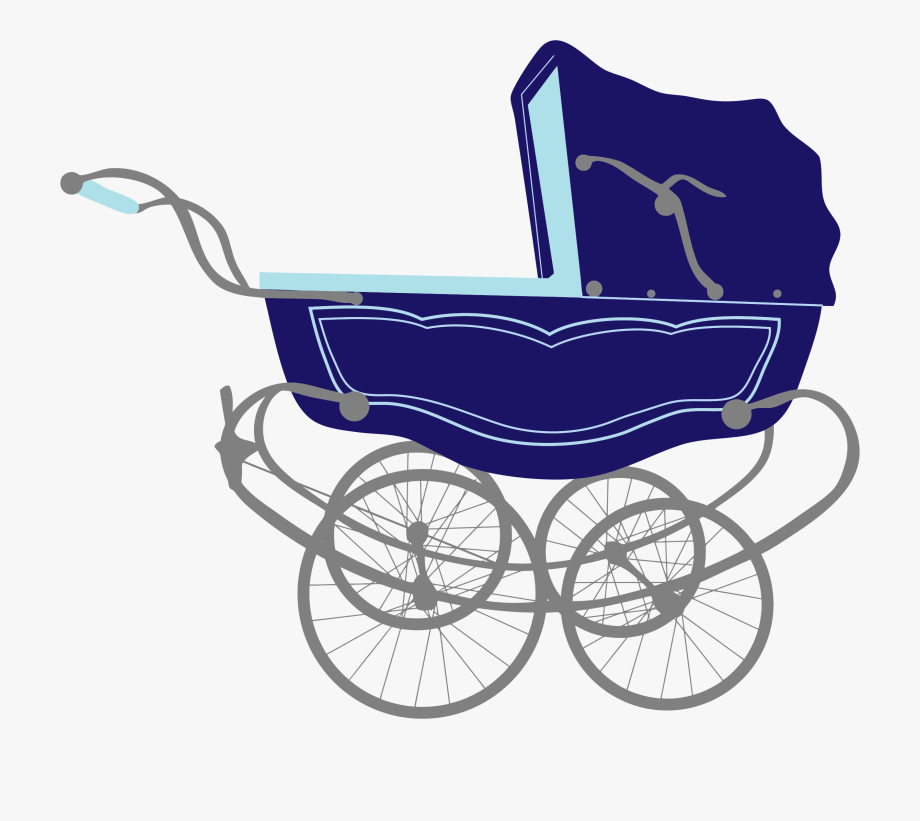 Vintage Blue Baby Stroller Carriage.