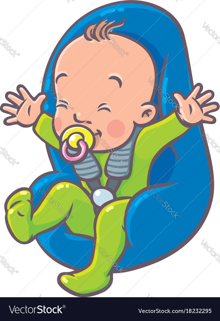 Funny small baby with dummy in the car seat.