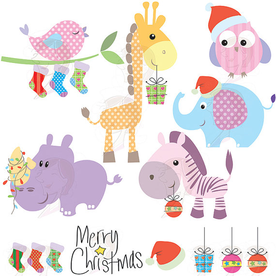 Christmas Cartoon Graphics Clip Art Baby Animals Cute Clipart.