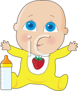 Royalty Free Clipart Image of a Baby With Big Blue Eyes.