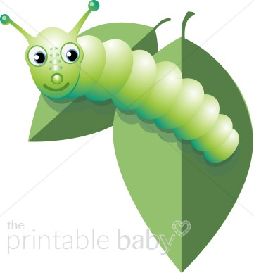 Catepillar on Leaves Clipart.