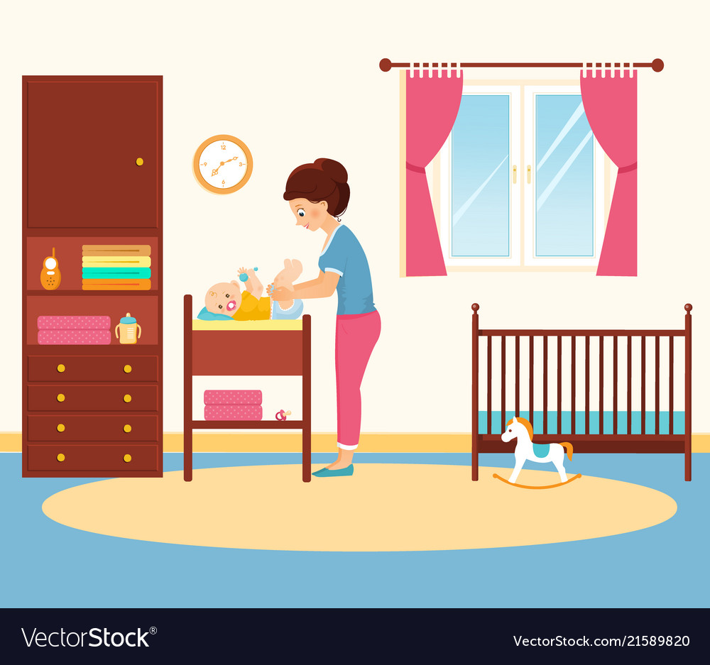 Mother changing diaper in baby room.