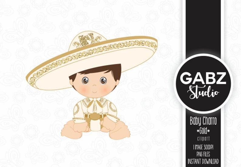 Baby Charro, Mexican Folklore, Clipart, Gold Glitter, Aztec, Decorative,  Baby Shower, Mexican, Fiesta, Gabz.