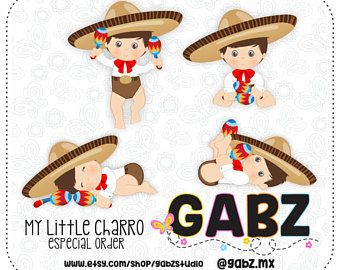 My Little Charro, Mexican Folklore, Clipart, Aztec, Decorative, Baby.