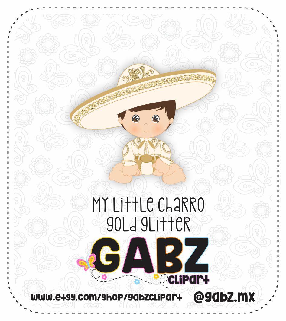 My Little Charro, Mexican Folklore, Clipart, Gold Glitter, Aztec.
