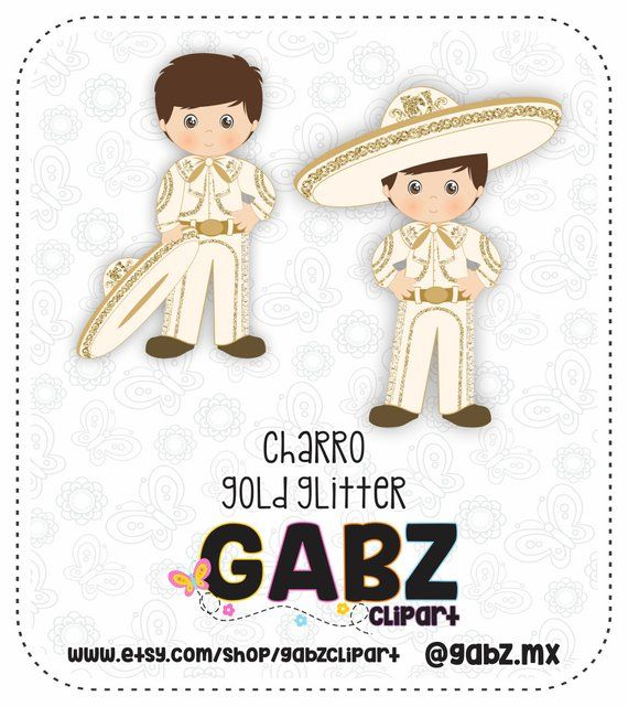 Charro, Gold and Beige, Mexican Folklore, Clipart, Gold Glitter.