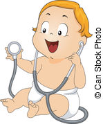 Baby boy doctor check up. Illustration of a baby boy having.