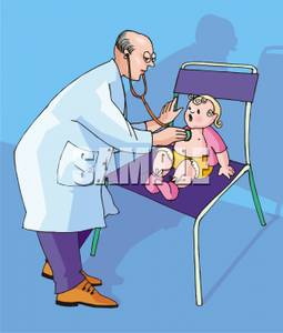 A Colorful Cartoon of a Doctor Giving a Baby a Checkup.
