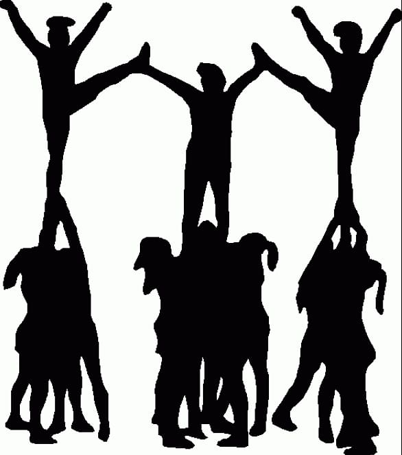 Cheer dancers silhouette illustration, Cheerleading Stunt.